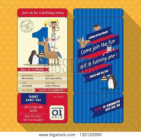 1st Birthday party invitation card with Ticket Boarding pass style Template