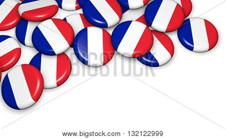 French flag on pin badges 3d illustration image for national France day events holiday memorial and celebration.
