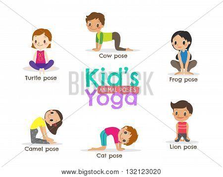 yoga exercise kids poses vector cartoon illustration