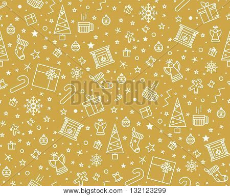 Golden New Year seamless pattern for gift wrapping or cards for the holidays. Easy style in one line hipster style.