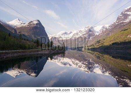 Norwegian landscape in the Fjords on bright calm morning