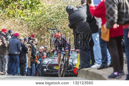 Conflans-Sainte-Honorine, France-March 6 2016: The Swedish cyclist Tobias Ludvigsson of Giant-Alpecin Team riding during the prologue stage of Paris-Nice 2016.