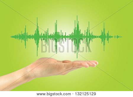 Musical Waves In A Man's Hand