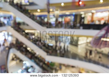 People In Department Store For Use As Shopping Concept, Blur Background