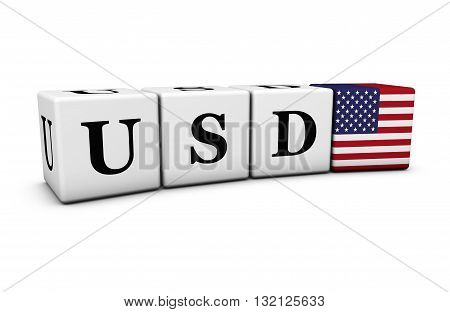 USD USA dollars currency code exchange market and financial trading concept with usd sign and US flag on cubes on white background 3D illustration.