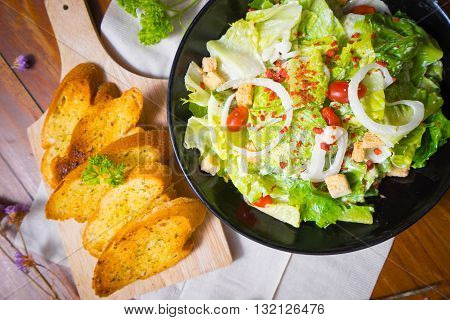 selective focus Healthy Grilled Chicken Caesar Salad with Cheese and Croutons
