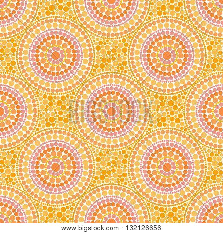 Orange colors dotted circles vector seamless pattern