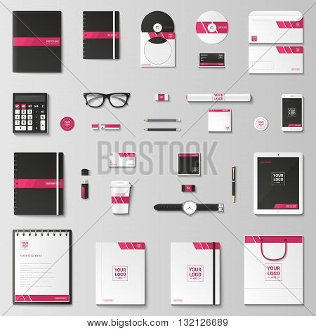Corporate identity template set. Business stationery mock-up with logo. Branding design. Notebook, card, catalog, pen, pencil, badge, tablet pc, mobile phone, letterhead.