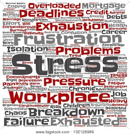 Vector concept conceptual mental stress at workplace or job abstract square word cloud isolated on background