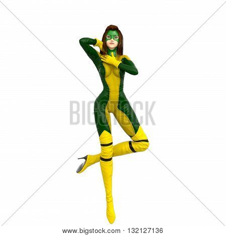 one girl in green yellow super suit. Stands on one leg. 3D rendering, 3D illustration