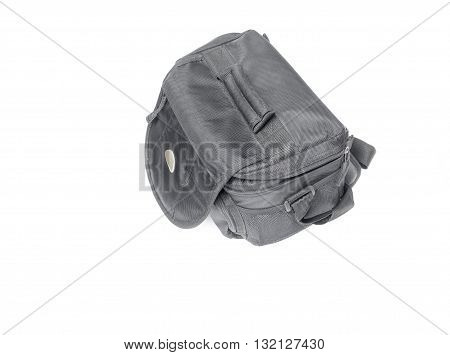 black camera bag on open white background select focus Top view