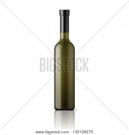 Tall glass bottle for wine. Packaging collection. Vector illustration.