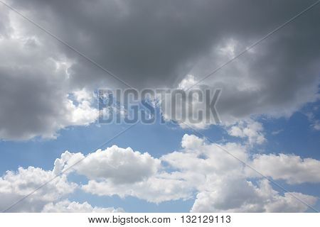 sky is covered by white clouds and raincloud