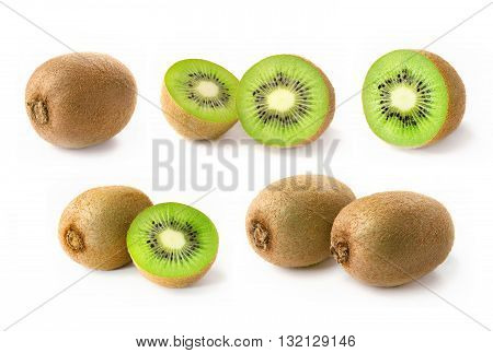 Kiwi. Collection of fresh kiwi fruits on white background