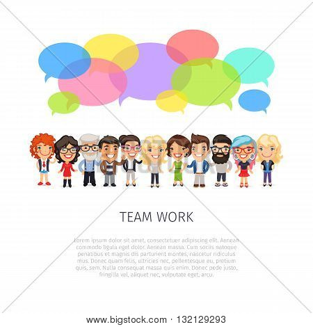 Team work poster with big group of casually dressed flat cartoon people and colorful speech bubbles. Isolated on white background. Clipping paths included.