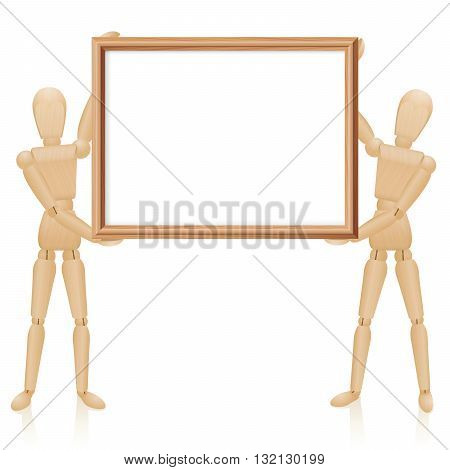 Artist dolls with blank wooden picture frame, horizontal format. Isolated vector illustration on white background.