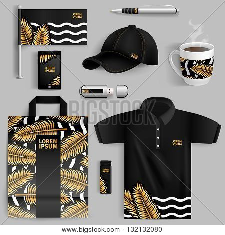 Decorative elements of corporate identity with gold palm leaves in realistic style with pen usb flash drive bag cup baseball cap isolated vector illustration
