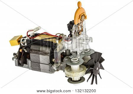 Small electric motor with fan isolated on white background