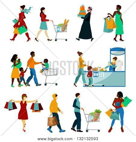 Shopping People Icons Set. Shopping People Vector Illustration. Shopping And People Decorative Set.  Shopping Design Set.Shopping Flat  Isolated Set.