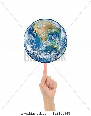 Planet Earth On Finger Human Hand Nasa
