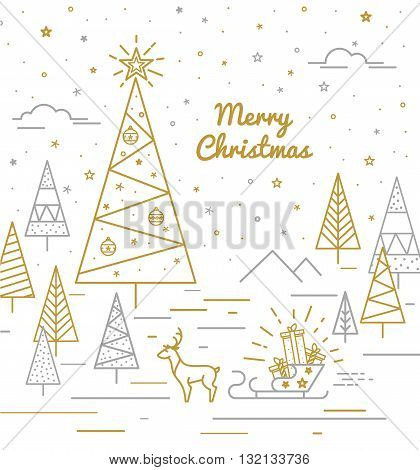 Christmas forest reindeer sleigh with gifts. Retro style in a thin line in the color of gold and silver on a white background.