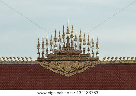 Lao traditional design top tiered of temple.