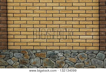 new brick wall and stone in a background image