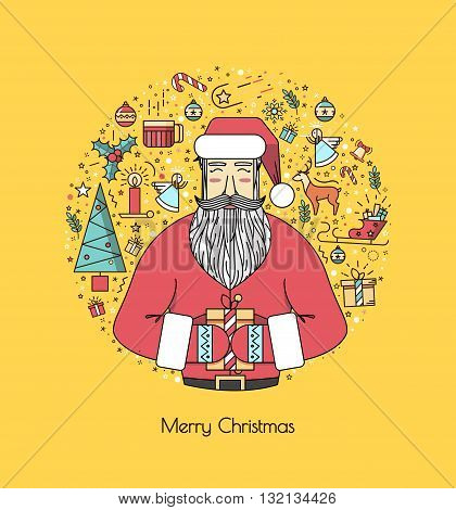 Santa Claus with presents and christmas elements in a circle a thin line. Bright yellow illustration for the new year 2016. A beautiful print or invitation.