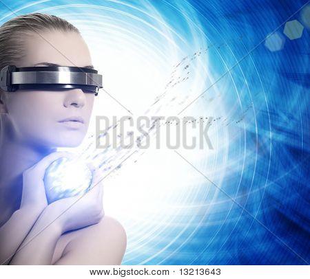 Robô feminino. Conceito de nanotecnologia