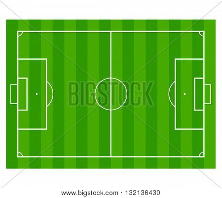 Grass Soccer or Football field isolated on white background.