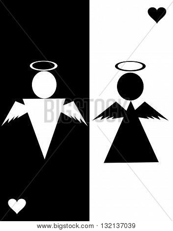 Pictogram  Angel Icon Symbol Sign. Angel icons, minimal style, pictogram. Heart icon, love icon, restroom icon. Man and woman sign. Toilet sign