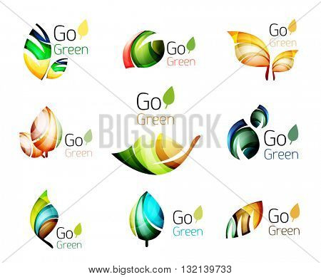 Multicolored abstract leaves in nature concept logo set. Vector illustration