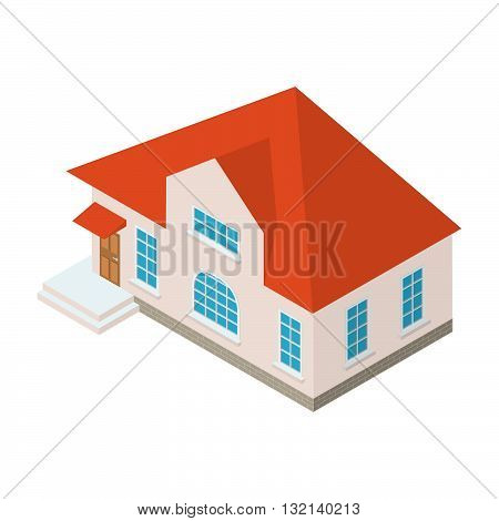 Vector isometric country house.suburban house.country house. country cottage.