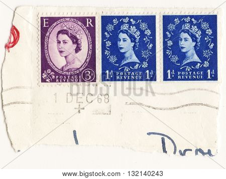 United Kingdom circo 1960 set postage stamps of United Kingdom Royal Mail Post Elizabeth