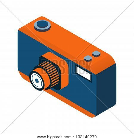 Vector isometric illustration  camera with a lens