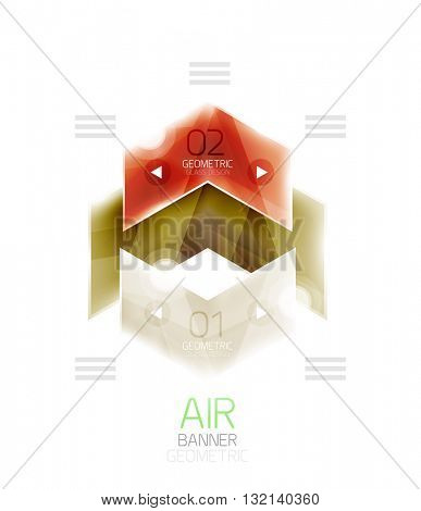 Air light glossy design of arrows. Web info box or ui menu element. Vector