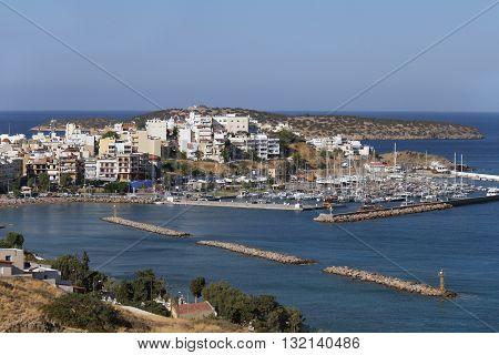 Agios Nikolaos Harbour, Crete,  Greece  / View of the Town of Agios Nikolaos
