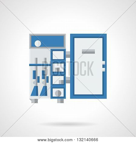 Lockers and safe boxes. Rugged safe for storage of firearms and ammunition with blue elements. Single flat color design vector icon.