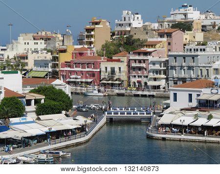 View Over Lake Voulismeni, Agios Nikolaos, Crete, Greece / Beautiful Port Town Agios Nikolaos on Crete Island