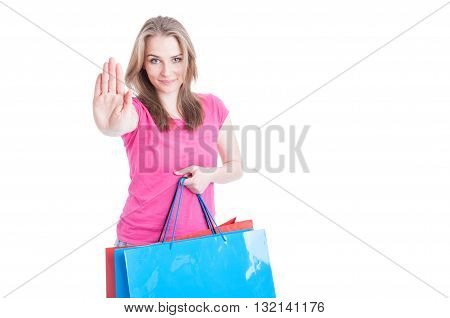 Stop And Shop Concept With Beautiful Female And Her Bags