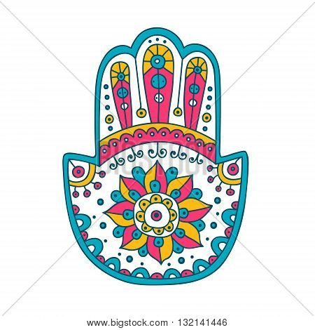 Doodle hamsa. Vector hand drawn hamsa with doodle ornament. Amulet with ethnic design. Good luck amulet. Isolated. Pink yellow and blue colors.