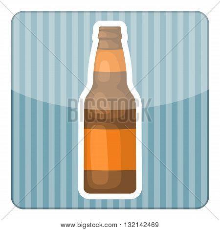 Beer bottle colorful icon. Vector illustration of bottle