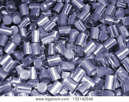 heap of metal cans, full frame photo