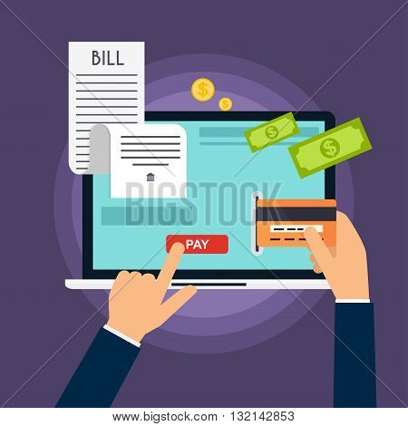 Mobile payment concept. Phone laying down on bill heap. Flat vector icon. Flat design modern vector illustration concept.