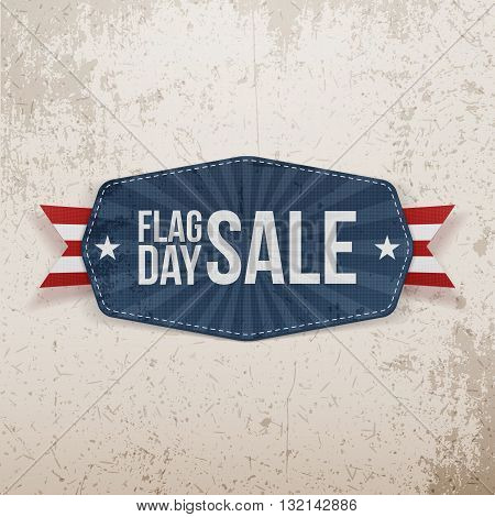 Flag Day Sale greeting Banner with Ribbon and Shadow. Vector Illustration