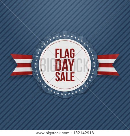 Flag Day Sale greeting Emblem with Ribbon and Shadow. Vector Illustration