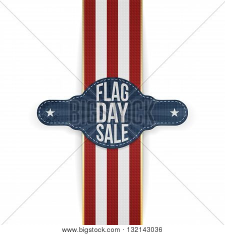 Flag Day Sale greeting Tag with Ribbon and Shadow. Vector Illustration