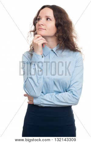 Young Businesswoman Looking Up And Daydreaming