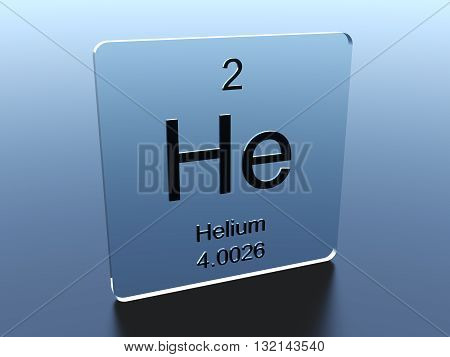 Helium symbol on a glass square 3D rendering