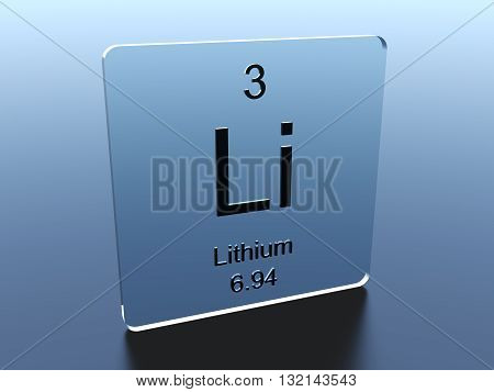 Lithium symbol on a glass square 3D rendering